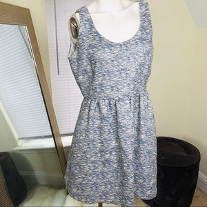 Zara White and Blue Tweed Dress